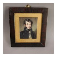 Miniature Watercolour Of A Gentleman Antique Georgian c1825