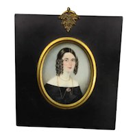 Miniature Watercolour Of A Lady Antique Georgian c1835