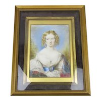 Miniature Watercolour Of Isabella Marston Antique Victorian c1840