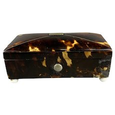 Miniature Faux Tortoiseshell Box Antique Georgian c1830