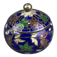 Sterling Silver Cloisonne Miniature Enameled Box Antique Art Deco c1920