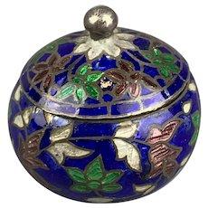 Sterling Silver Cloisonne Miniature Enameled Box Antique Art Deco c1920