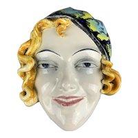 Wall Mounted China Mask Vintage Art Deco c1930 By Goebel