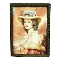 English Portrait Miniature Of A Lady In Hat And Period Dress Antique Victorian c1880