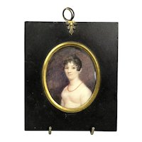 Miniature Watercolour Portrait Of A Lady With Red Necklace Georgian Antique c1820