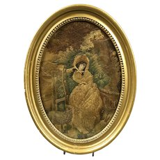 Mixed Media Embroidery Of Lady With A Sheet In Oval Frame Georgian Antique c1800