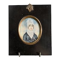 Miniature Watercolor Portrait Of A Lady  Georgian Antique c1820