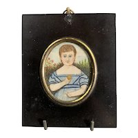 Miniature Watercolor Portrait Of A Child with Biscuit Georgian Antique c1820