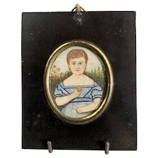 Miniature Watercolor Portrait Of A Child with Biscuit Georgian Antique c1820