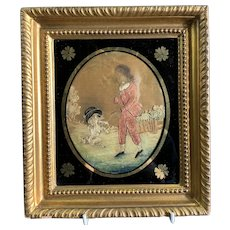 Silk Needle Embroidery Of Boy And His Dog In A Gilded Frame Georgian Antique c1800