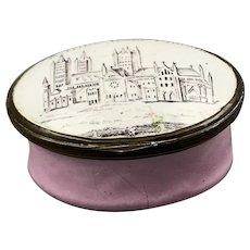 "Enamel Patch Box ""A Tritle From Lincolnshire"" Antique  Georgian c1800."