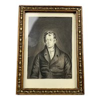 Miniature Watercolor Portrait Of A Gentleman Victorian Antique c1840