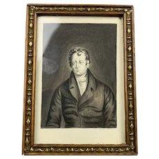 Miniature Watercolor Portrait Of A Gentleman Victorian Antique c1840