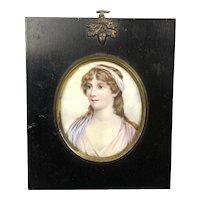 Miniature Watercolor Portrait Of A Young Lady Victorian Arts & Crafts Antique c1890