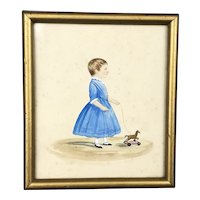 Miniature Watercolor Child With Toy Horse Victorian Antique c1840