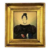 Miniature Watercolour Of Black Puffy Sleeved Lady Antique Victorian c1840