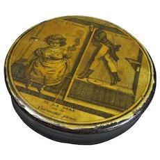 Papier Mache Naughty Printed Snuff Box Antique 19th Century