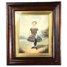Framed Naive Watercolor Of Child In Tartan With Whip Victorian Antique c1840
