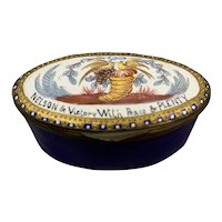 Oval Enamel Snuff Pill Box With Horn Of Plenty  Antique Victorian c1870