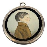 Round Metal Framed Watercolour Portrait Miniature of a Boy Antique Georgian c1810