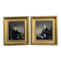 Pair Of Art Painting Pastels On Canvans With Gilded Wooden Frame Antique Georgian c1810