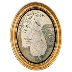 Oval Georgian Fine Needlework Lady with Green Birdcage on Silk Textile Antique c1780