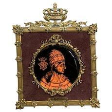 Gregorius XI Imposing Brass Framed Reverse Glass Painting Antique Victorian c1850