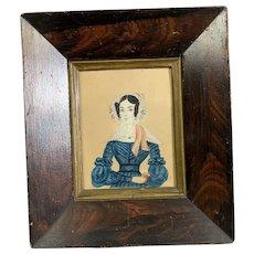 Primitive Miniature Watercolor Lady with Book Antique Victorian c1840