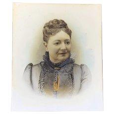 Reverse Portrait Glass Painting Antique Victorian c1880