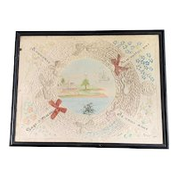 Rectangular Embroidering Cotton And Painted Panel French Antique Art Nouveau Period 1905