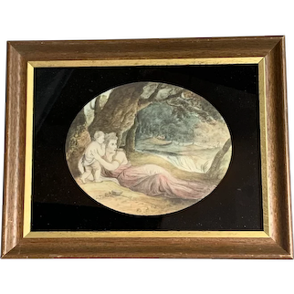 Watercolor On Canvas Painting In a Rectangular Wooden And Gilded Frame Antique Georgian c1790