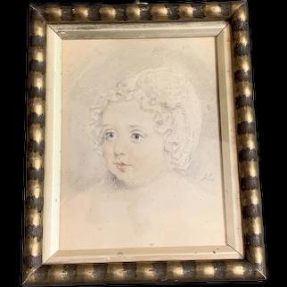 Pencil And Watercolor Portrait Of A Child Antique Georgian c1790