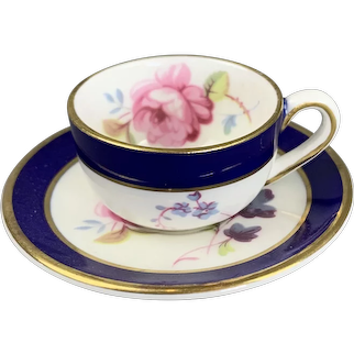 Miniature Cup And Saucer In White And Blue Made By Coal Port in England Vintage c1960
