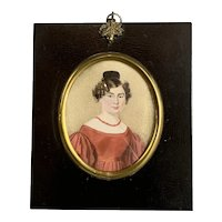 Miniature Watercolour Painting Of A Lady In A Gilded And Mahogany Frame Antique Georgian c1820