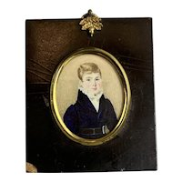 Miniature Watercolour Painting Of A Young Boy In A Gilded And Mahogany Frame Antique Georgian c1820