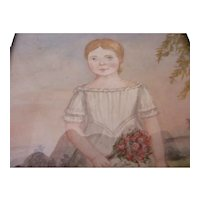 Naive Watercolour Of A Girl Antique Georgian c1830