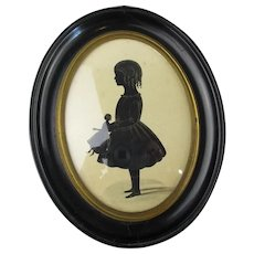 Miniature Silhouette Of A Child With Doll Antique Victorian c1840