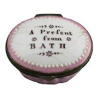 Enamel Patch Box Present From Bath Antique Georgian c1800