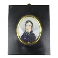 Miniature Watercolour Portrait Of Captain John Barnett Antique Georgian c1810