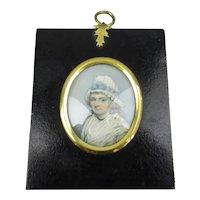 Miniature Watercolour Portrait Elizabeth Barnett Antique Georgian c1800