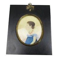 Miniature Watercolour Portrait Of A Girl Antique Georgian c1810
