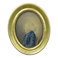 Miniature Watercolour Of Robert Barnett Antique Georgian c1780.