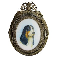 Miniature Watercolour Of A Dog Antique Edwardian c1905