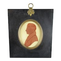 Painted Miniature Silhouette Of A Gentleman Antique Georgian c1820