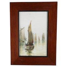 Oil On Opalescent Glass Sailing Scene Antique Edwardian c1910