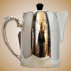 English Silver Plate Coffee Pot Vintage Art Deco c.1930.
