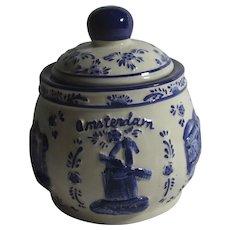 Blue & White Amsterdam Dutch Delft Pot Vintage c1960