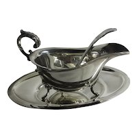 Mappin & Webb Silver Plate Sauce Boat, Ladle, Stand Vintage c1980