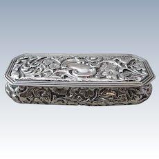Sterling Silver Trinket Box Antique Edwardian Birmingham 1901.