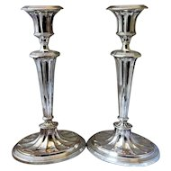 Pair Of Sheffield Plate Candlesticks Antique Georgian c.1800.